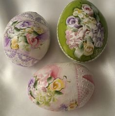 Hand Painted Easter Egg Gourds Spring Roses Hydrangeas Shabby Lace Chic HP