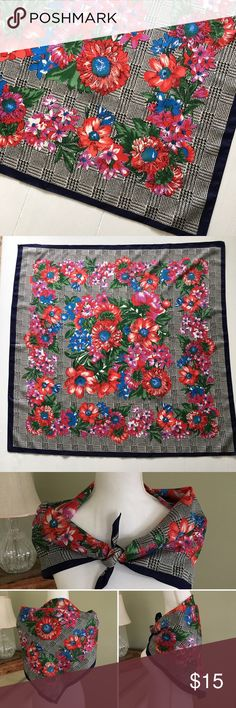 "Laura Borghese Floral Houndstooth Scarf This beautiful floral Houndstooth scarf from Laura Borghese for Tie Rack features red, purple and blue flowers including daisies and crocuses, Houndstooth background and blue edge. Made in Italy. Small tear in one corner (see last photo). 31"" x 30.25"" Laura Borghese Accessories Scarves & Wraps"