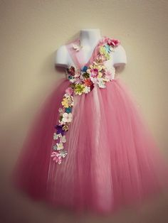 Pink Floral Tutu Dress, Flower Fairy tutu, Flower Girl Dress, Vintage Wedding, Toddler Fairy Costume
