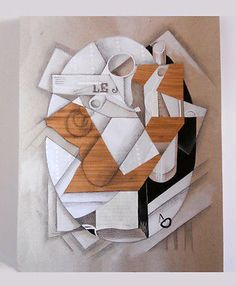 Mixed media+collage on paper-French Cubism-Juan Gris-drawing/dessin-still life - http://art.goshoppins.com/mixed-media/mixed-mediacollage-on-paper-french-cubism-juan-gris-drawingdessin-still-life/