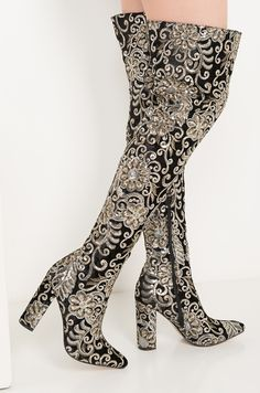ded936a84d57 AKIRA Over The Knee Embroidered Sequin High Chunky Heeled Boots in Black