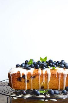 Blueberry Semolina Tea Loaf with Lemony Crème Fraîche Drizzle