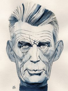 Samuel Beckett by Siegfried Woldhek Samuel Beckett, August Strindberg, Illusion Drawings, Writers And Poets, Drawing Sketches, Illusions, Concept Art, Novels, Illustration Art