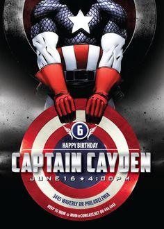 Captain America Personalized Party Invitations | Captain America ...
