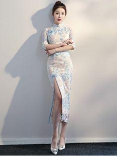Split Front Embroidered Qipao / Cheongsam Evening Dress