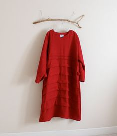 handmade to measure pleats roses folds  linen dress with sleeves
