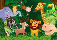 imagenes de animales de la selva animados | Vectores de la selva, animales, plantas y más