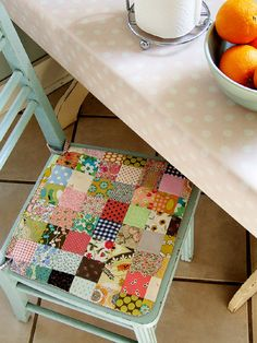 Patchwork chair cushion? Too presh. This would be awesome for a desk chair seat for Clara down the line @Sherry @ Young House Love. If only you had some fabric scraps laying around...