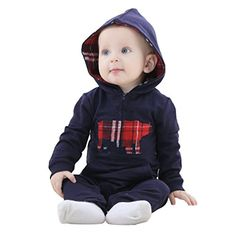 Mycloth IDGIRL Baby Girl Boy Hooded Romper Pajamas Cotton Jumpsuit Spring  Autumn  Winter 1924months Dark Blue -- Details can be found by clicking on the image.Note:It is affiliate link to Amazon.