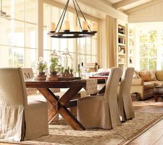 Ive loved this chandelier forever! I love the table/chairs/entire feel of this room! Veranda Round Chandelier, Bronze finish