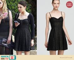 Mona's black lace dress at the funeral on Pretty Little Liars.  Outfit details: http://wornontv.net/15606/