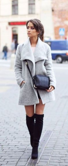#fall #fashion / gray + boots