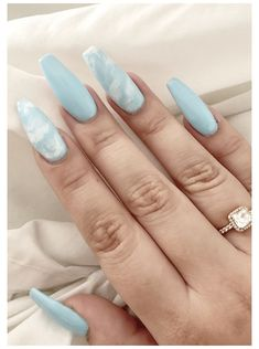 Ongles Baby Blue, Baby Blue Nails, Light Blue Nails, Pastel Blue Nails, Blue And White Nails, Pink White, Marble Acrylic Nails, Acrylic Nails Coffin Short, Coffin Nails