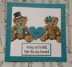 Stampin with Karen Spreckley: Stampin up Baby Bear wedding Wedding Best Wishes, Best Wishes Card, Wedding Cards Handmade, Greeting Cards Handmade, Baby Cards, Kids Cards, Wedding Shower Cards, Bunny And Bear, Teddy Bear