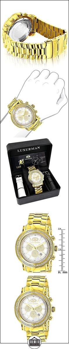 Large Diamond Bezel Watch for Men Yellow Gold Plated with Chronograph 2.5c LUXURMAN Escalade  ✿ Relojes para hombre - (Lujo) ✿