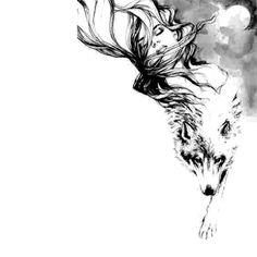 58 Ideas For Tattoo Wolf Girl Wolfwoman Cover Tattoo, Arm Tattoo, Body Art Tattoos, Tattoo Drawings, Sleeve Tattoos, Art Drawings, Wing Tattoos, Compass Tattoo, Wolf Girl Tattoos