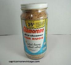 1959 Glamorene Dry Cleaner For Rugs Glass Jar Full Unused Mid Century Kitsch Retro Room Decor Vintage Carpet Cleaner