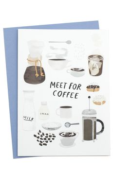 """Set a date for coffee (the ONLY way to wake up) with this beautifully illustrated card! Dimensions: Measures 6.25"""" x 4.5"""". Details: Includes coordinating envelope. Redcruiser is a collection of illust"""