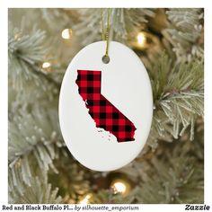 Red and Black Buffalo Plaid California Map Shape Ceramic Ornament