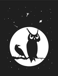 Halloween Decoration Spooky Owl Crow Moon Window Silhouette | eBay Cartoon Silhouette, Silhouette Cameo, Window Poster, Vinyl Poster, Owl Logo, Season Of The Witch, Circle Art, Black Image, Doodle Art
