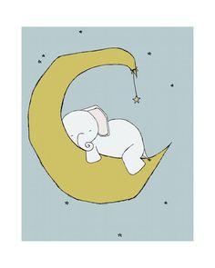 Elephant Nursery Art Print, Nursery Decor, Elephant Art Print, Baby Elephant Moon and Stars Dream, 8x10 Children Art Print, Kids Wall Art via Etsy