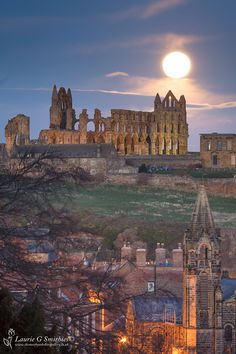 Moon Rise Over Whitby Abbey - The North Yorkshire Gallery A winters moon rise over Whitby Abbey. Yorkshire England, East Yorkshire, Yorkshire Dales, York England, Oxford England, Cornwall England, London England, Places To Travel, Wanderlust