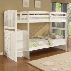 Best and Cute Bed Bunks For Kids : Simple White Bed Bunk For Children With Two Beds Covered Green Purple Spray And Locker At It's Staircase ...