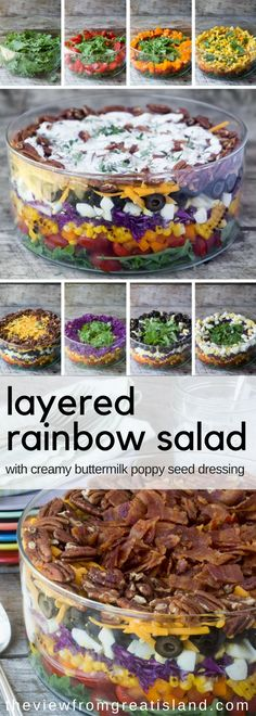 This Layered Rainbow Salad with a creamy buttermilk poppy seed dressing is a crowd pleasing layered salad that can be assembled ahead of time so it's perfect for picnics, potlucks, and barbecues. It's colorful and festive, and guaranteed to get raves! #rainbowsalad #layeredsalad #glutenfree #salad #summersalad #picnicsalad #potluckrecipe #healthy #colorfulfood #stpatricksday