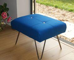 Footstool Ottoman Blue Wool Hairpin Legs