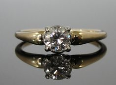 Simple and Sweet Gold Diamond Engagement Ring by MSJewelers, $1645.00