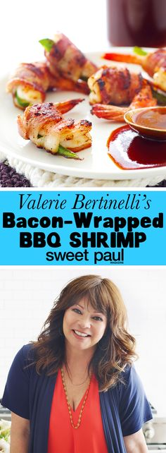 Valerie Bertinelli's Bacon-Wrapped Jalapeño Shrimp with Cherry Cola BBQ Sauce Bacon Wrapped Shrimp, Bacon Wrapped Scallops, Bacon Wrapped Jalapenos, Stuffed Jalapenos With Bacon, Chef Recipes, Fish Recipes, Seafood Recipes, Cooking Recipes, Recipes