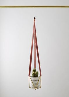 Leather & Brass Plant Hanger by geofleur on Etsy Bohemian House, Bohemian Decor, Brass Planter, Unique Rugs, Plant Hanger, Indoor Plants, Furniture Decor, Red Leather, Planters