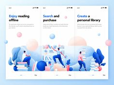 Books App Onboarding designed by Krestovskaya Anna. Connect with them on Dribbble; the global community for designers and creative professionals. Web And App Design, Mobile App Design, Flat Design Illustration, Science Illustration, Ui Design Inspiration, Design Trends, Ui Web, Application Design, Branding