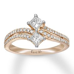 Ever Us Diamond Ring ct tw Princess-cut Rose Gold Fashion Jewelry Stores, Love Ring, Princess Cut Diamonds, Jewelry Rings, Jewlery, Indian Jewelry, Fashion Rings, Ring Designs, Round Diamonds