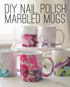 DIY Crafts Using Nail Polish - Fun, Cool, Easy and Cheap Craft Ideas for Girls, Teens, Tweens and Adults   DIY Nail Polish Marbled Mugs