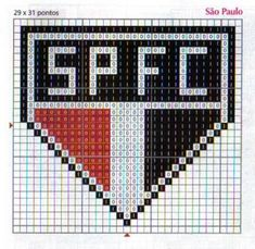 Escudo SPFC Crochet Football, Maria Jose, Hama Beads, Cross Stitch Embroidery, Pixel Art, Diy And Crafts, Lettering, Easy Cross Stitch, Small Cross Stitch