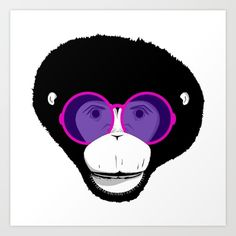 Art Print by brebren Just For Fun, Monkey, Illustration Art, Wildlife, Art Prints, Cool Stuff, Glasses, Animals, Design