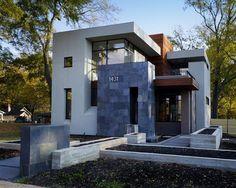 Fachada de casa moderna con piedras