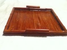 """VTG Distressed Red Brown Stain Bamboo Wood Handle 12"""" Square Serve Display Tray"""