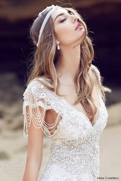 anna campbell 2015 bridal dresse cap sleeves v neckline beaded embellished bodice gorgeous fit to flare mermaid wedding dress sierra close up view