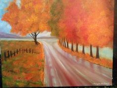 Misty country road-oil painting