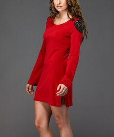 Take a look at this Red Bell-Sleeve Tunic Dress by Amelia on #zulily today!