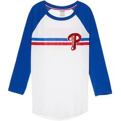 PINK Philadelphia Phillies Bling Perfect Baseball Tee ($45) ❤ liked on Polyvore featuring tops, t-shirts, pink baseball tee, 3/4 sleeve baseball t shirt, 3/4 sleeve t shirts, curved hem tee and baseball tee