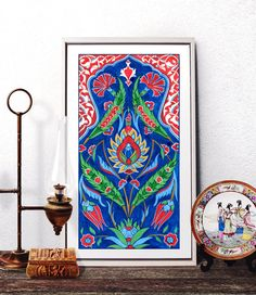 Traditional Ottoman Red Tulip Watercolor Art, Turkish Red Carnation Rumi Pattern Home Decor, Iznik Tile Design Prints and Original Painting by HermesArts
