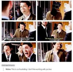 Their reaction is priceless! LoL. Misha went to drama school. #spn