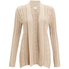 Monsoon Celeste Cable Cardigan (135 MYR) found on Polyvore featuring tops, cardigans, outerwear, sweaters, jackets, neutral, cable knit cardigan, chunky cable knit cardigan, beige cardigan and beige top