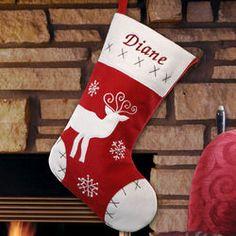 Classic Reindeer Red Velvet Christmas Stocking
