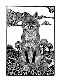 This is a detailed print of a hunched fox.    An original, hand printed linocut with black ink on white, acid free, 130gsm paper. This print is