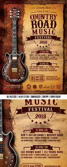 """Buy Country Road Music Festival by Mograsol on GraphicRiver. """"Country Road Music Festival Flyer Suitable for any bars or discos. Festival Checklist, Festival Flyer, Festival Posters, Concert Posters, Festival Party, Road Music, Country Music Concerts, Music Flyer, Concert Flyer"""