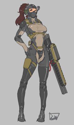 korean Commision work by obokhan on DeviantArt Cyberpunk Character, Cyberpunk Art, Female Character Concept, Character Art, Armor Concept, Concept Art, Female Armor, Anime Military, Sci Fi Characters